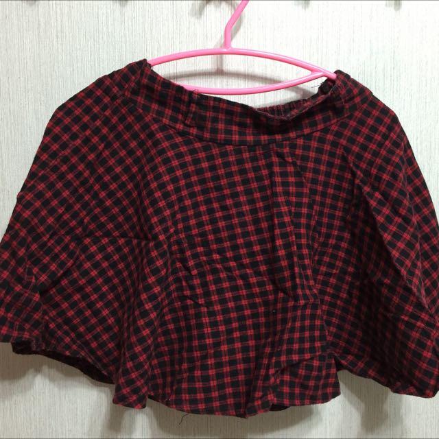 紅黑格紋格子短裙