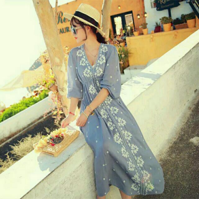 波希米亞 刺繡綿麻洋裝 長裙
