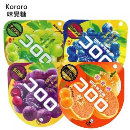 日本 現貨 Kororo 味覺糖 紫葡萄/青葡萄/橘子口味 100%果汁軟糖 40g