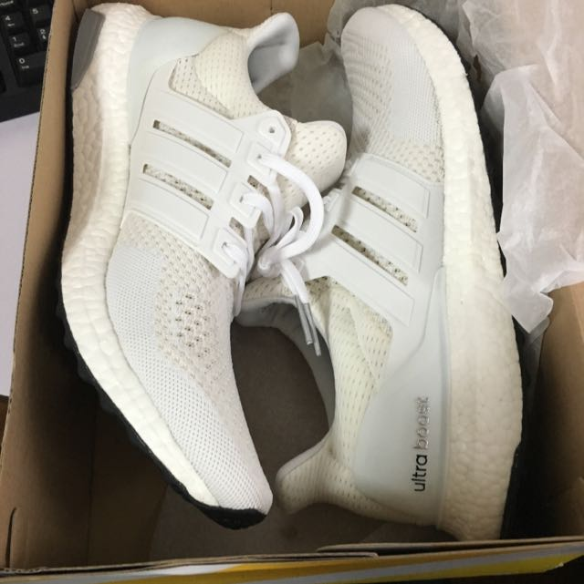 37829f12 Adidas Ultra Boost Triple White 1.0, Sports on Carousell
