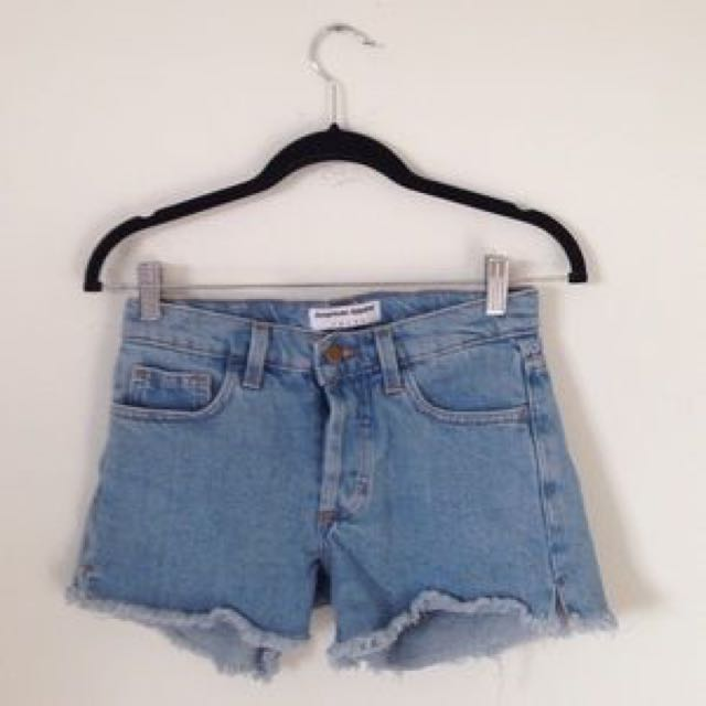 American Apparel Denim Cut Off Short Mid Rise