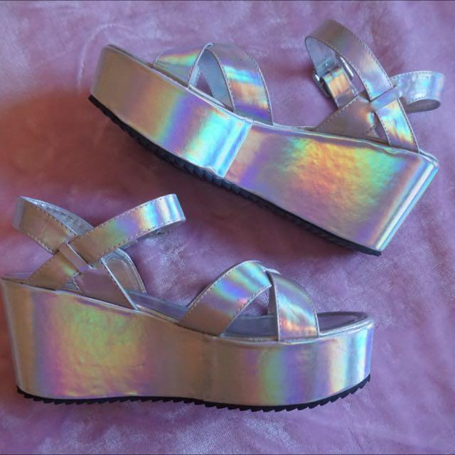 Ava & Ever Holographic Platforms Sandals