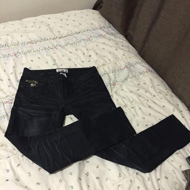Black Acid Wash Pants