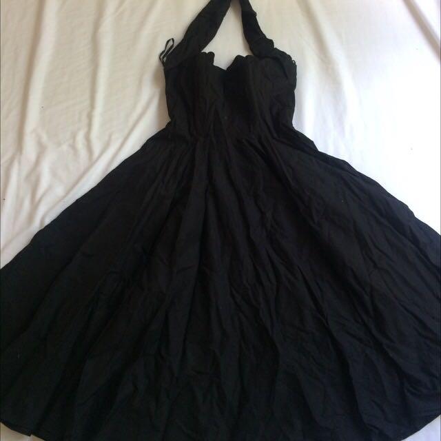 Black U.K. Size 16 50's Circle Dress Vivienne Of Holloway