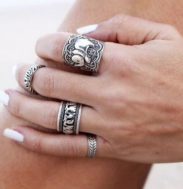 Boho Silver Elephant Ring Set