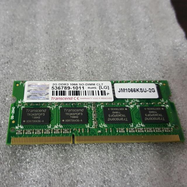 創見 筆記型電腦記憶體,DDR3 1066 2G