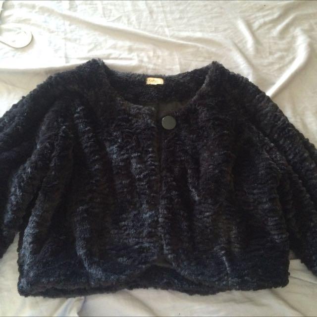 Faux Fur Crop Coat Size 18