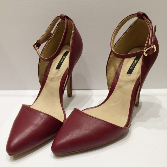 Forever21 Burgundy Leather Heels New