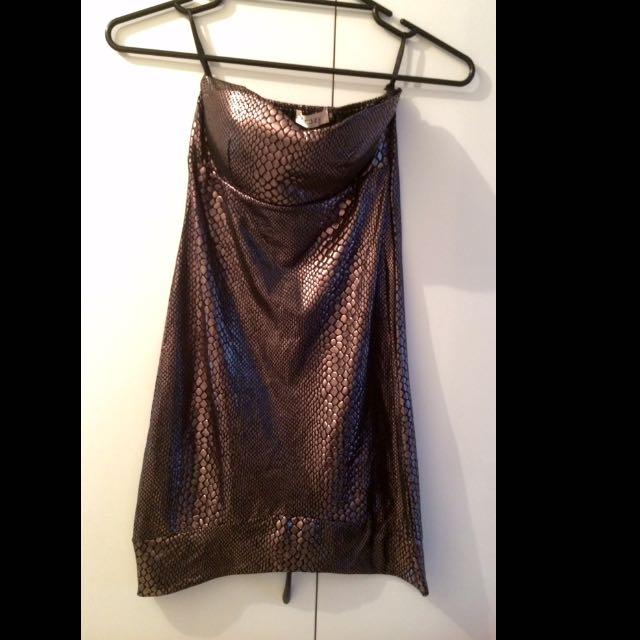 Gold Snake Print Short Party Dress