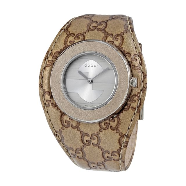 d6e1cef6cda Gucci U-Play Silver Dial Champagne Leather Ladies Watch YA129425 ...