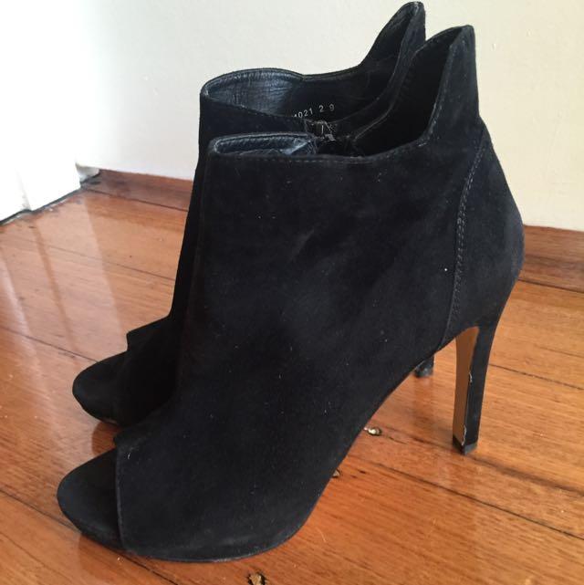 Jo Mercer Leather Peep Toe Heels Black 9