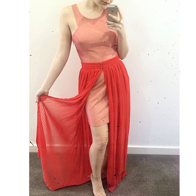 KUKU Metallic Satin Mini Dress with Detachable Crepe Maxi Skirt/Cape