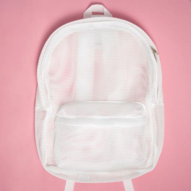 【降價】Mesh Backpack 網狀後背包(白)
