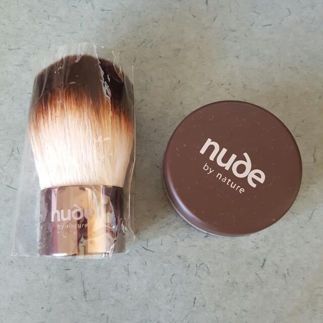 New Nude By Nature Kabuki Brush And Foundation
