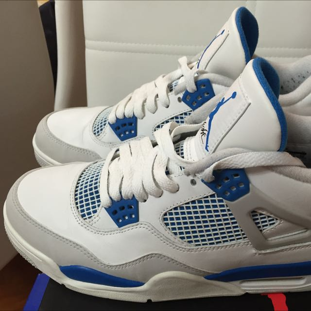 c1c9b30f694 NIKE AIR JORDAN 4 RETRO white/military blue-ntrl grey, Sports on ...