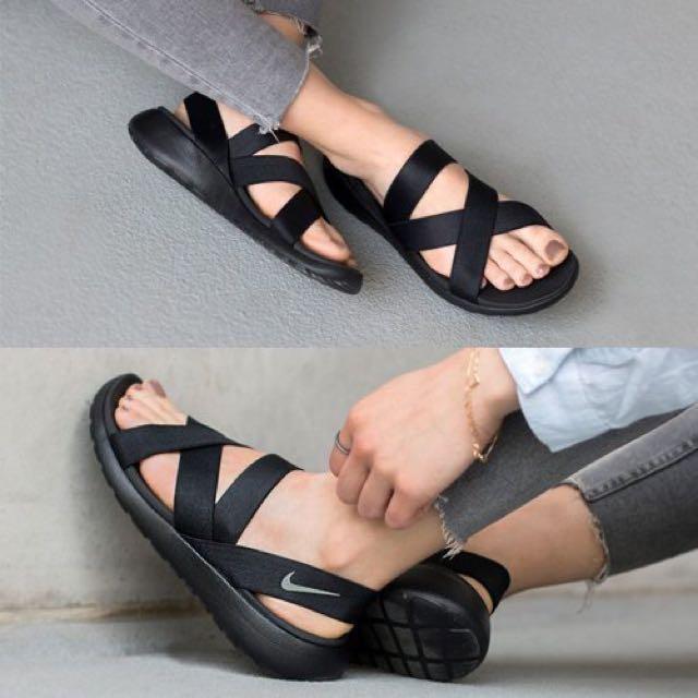 Nike Roshe One Sandal 女 黑 全黑 綁帶 涼鞋 拖鞋 830584-001 忍者鞋
