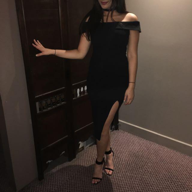 Off The Shoulder Black Dress with Slit