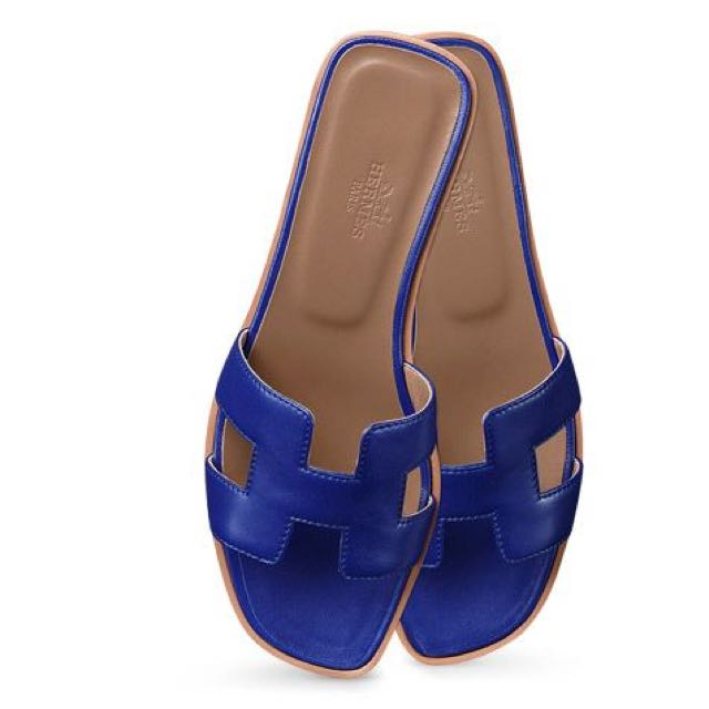 2a757c33f705 Oran Hermes ladies  sandal in blue nappa leather with hazelnut ...