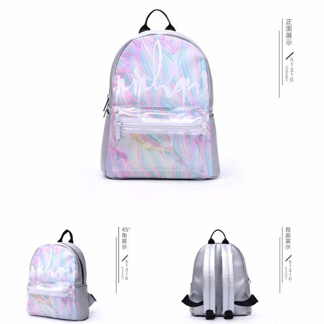 【預購】日系學院風彩色花蕊印花小背包清新拼接PU防水後背包