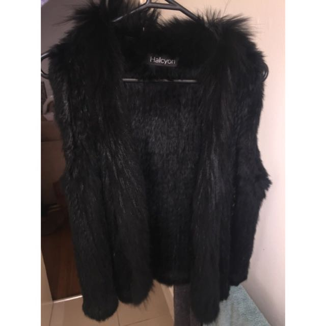 Real Rabbit Fur Black Vest Winter