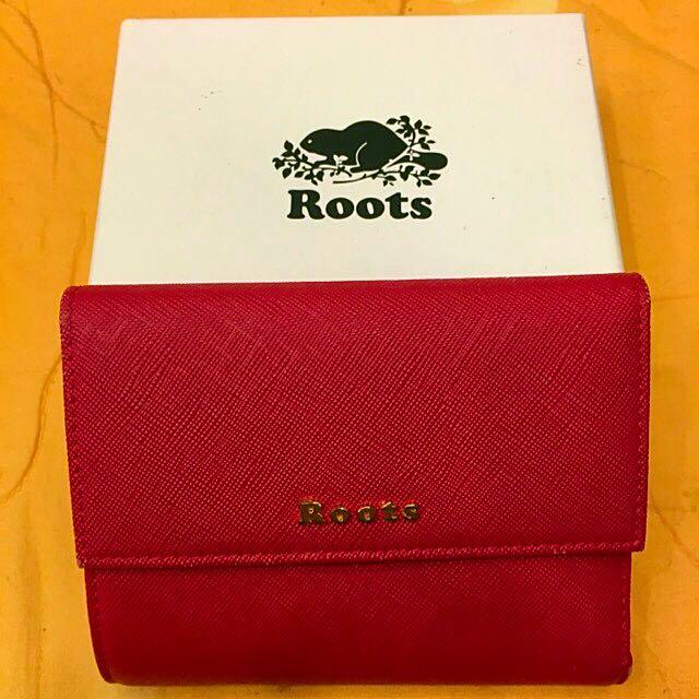 Roots Kelly Wallet凱莉皮革短夾(紅)「大降價」