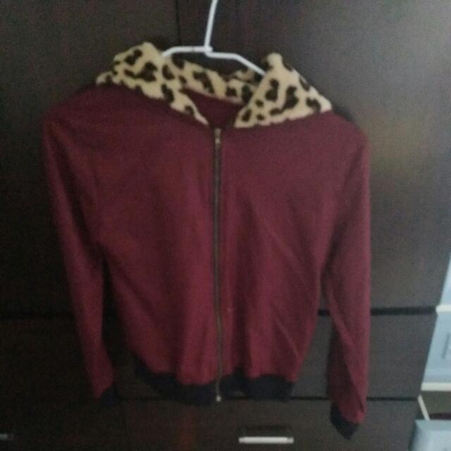 酒紅豹紋外套S