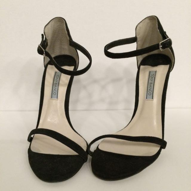 Tony Bianco Black 'Karissa' Suede Strappy Heels