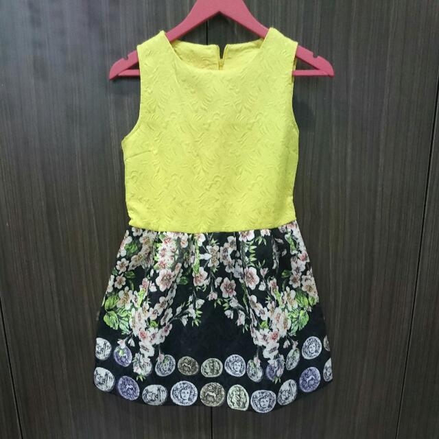 Yellow Black Party Dress