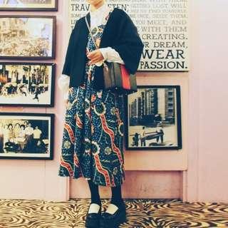 vintage複古古著圖騰可愛背心+長裙套裝