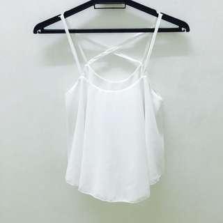 White Singlet Crop Top