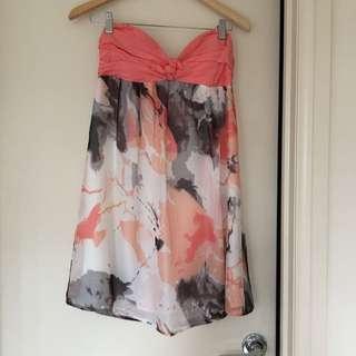 Azuki Strapless Watercolour Dress