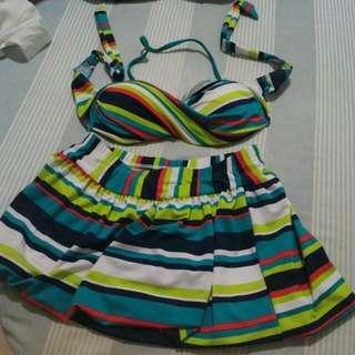夏天來囉~溫泉沙灘海灘海邊紋路現代兩件式泳衣泳裝