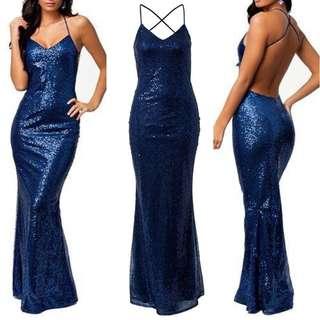 Blue Sequin Formal Dress