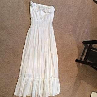 White Waisted Strapless Bohemian Dress