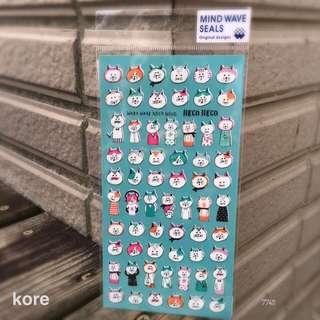 🚚 日本製Mind Wave 平貼紙包 -  [77411]貓咪愛上學 -1包56元