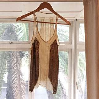 Size S French Connection Sheer Top With Gold Sequin panels