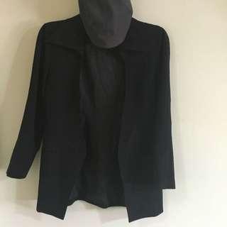 顯瘦 古著 黑色 腰身 風衣 西裝外套