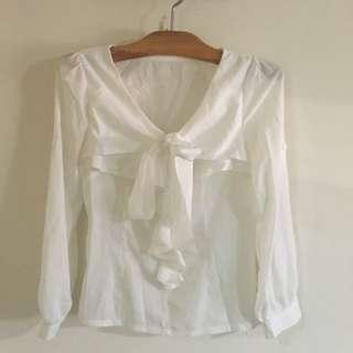 白色 氣質 綁帶 V領 雪紡上衣 襯衫