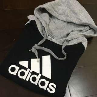 Adidas 帽T 黑 灰 拼接袖 基本款 三條線