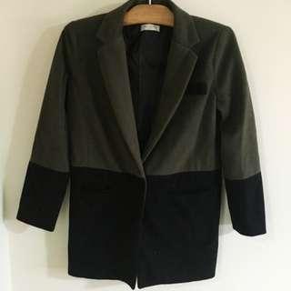 韓國帶回 美到哭 瘦到爆 長版 西裝 毛呢大衣 外套