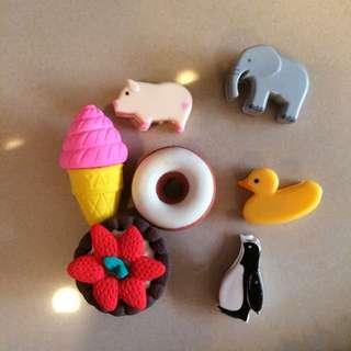 🚚 食物橡皮擦 動物夾子 企鵝 豬 大象 鴨子