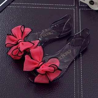 Flatt Jelly Shoes Red Flower