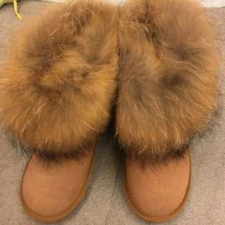 雪靴 駝色 24.5 正韓 質感超好 幾乎全新