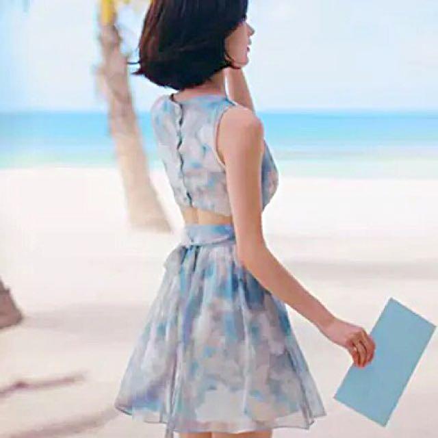 「現貨」2016新款 夏季定制 韓版 天空暈染 浪漫 露腰 沙灘 度假 連衣裙 洋裝 短裙女 現貨+預購