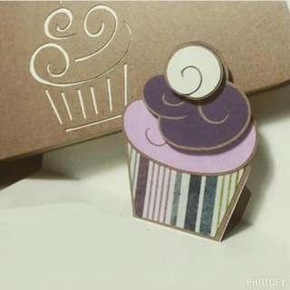 Cupcake • Pop-up Card • Purple Stripes