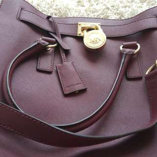Authentic Maroon large Micheal Kors Bag