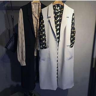 韓國 設計師款 西裝 外套 馬甲 背心 灰色 顯瘦 襯衫