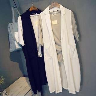 韓國 設計師款 西裝 雪紡 馬甲 背心 外套 顯瘦 襯衫