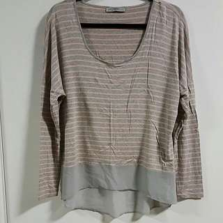 Grey And Pink Striped Top