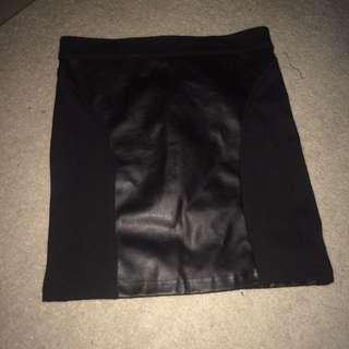 Factorie Black Pleather Skirt